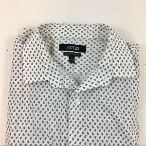 Apt. 9 White Paisley Print Button Down Shirt 34/35